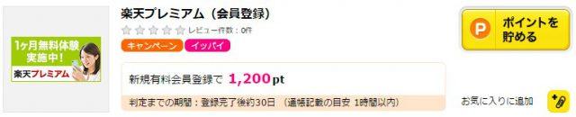 楽天プレミアムもポイントサイトから登録すると1200ポイントもらえる